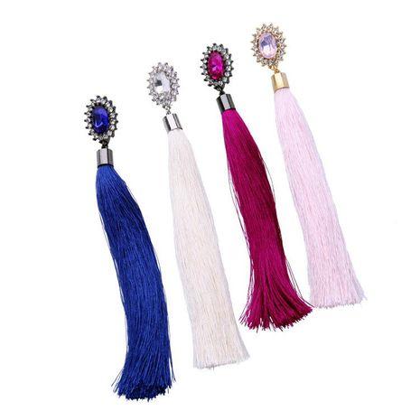 Aretes para mujer de borla joyas largos de aleación de piedras preciosas engastadas con diamantes NHQD177549's discount tags