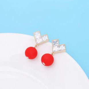 Aretes para mujer de moda amor pendientes de perlas S925 aguja de plata pendientes incrustados de circón simple NHDO177665's discount tags