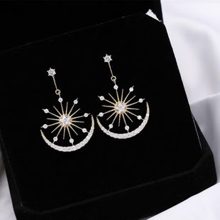 Aretes para mujer Micro-Inlay Star Moon S925 Silver Stud Earrings NHDO177667's discount tags