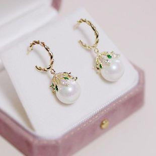 Aretes para mujer de aguja de plata Pendientes de perlas de palacio retro Pendientes de moda para mujer NHDO177668's discount tags