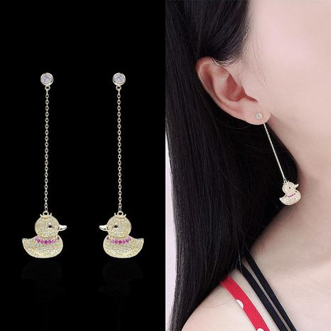 Aretes para mujer de dibujos animados 925 Silver Needle Cute Long Stud Earrings NHDO177669's discount tags