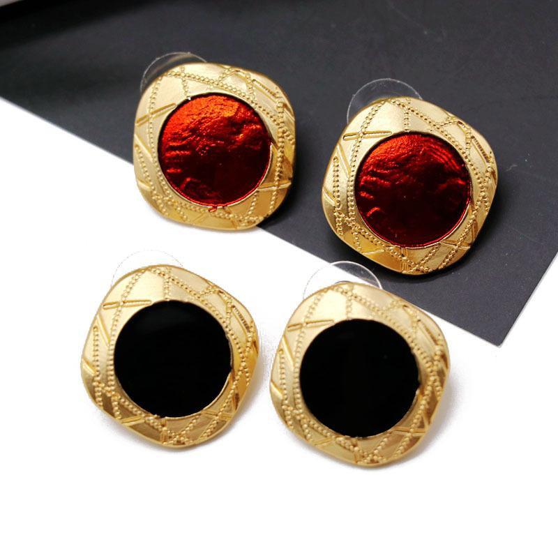 Fashion Stud Earrings Red Black Square Round Drops 925 Silver Stud Earrings Retro NHOM177574