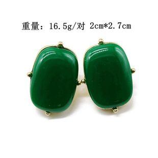 Aretes vintage Elipse verde Aretes de plata 925 cuadrados Aretes de gema de resina verde NHOM177575's discount tags