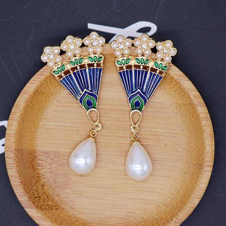 Aretes para mujer joker azul gota esmalte pendientes en forma de abanico gota pendientes de perlas pendientes pendientes de temperamento retro NHOM177579's discount tags
