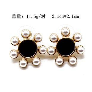 Clip de oreja aretes para mujer de flores blancas negras clip de oreja pendientes de aguja de plata 925 pendientes de perlas NHOM177578's discount tags