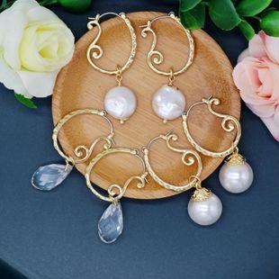 Abalorios Aretes para mujer de metal Pendientes de gota de perlas curvas caladas Superficie de corte Pendientes de gota transparentes Jane NHOM177584's discount tags