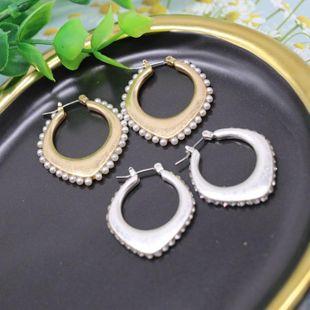 Joyas Aretes para mujer de plata de oro mate pendientes simples de diamantes huecos pendientes de moda salvaje NHOM177587's discount tags
