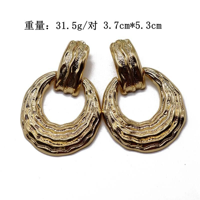 Exaggerated metal earrings hollow ring pendant earrings gold fashion personality earrings NHOM177589