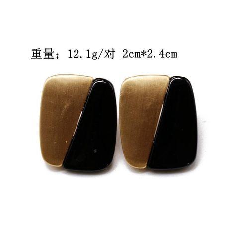 Aretes para mujer de botón rectangulares dorados y plateados de dos colores. NHOM177591's discount tags