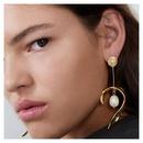 Creative leaf metal hanging pearl long popular earrings NHCT177367