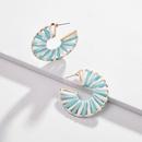 Earrings jewelry hollow alloy segment dyed color Rafia weave female earrings new NHLU177628