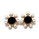 Ear clip black white flower earrings ear clip 925 silver needle earrings pearl earrings NHOM177578
