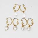 Beads Stud Earrings Metal Openwork Curved Pearl Drop Earrings Cut Surface Transparent Drop Stud Earrings Jane NHOM177584