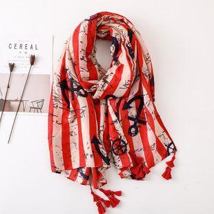Ancla bufanda de algodón y lino a rayas bufanda de seda cálida chal largo salvaje femenino NHGD177975's discount tags