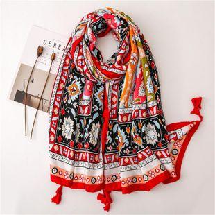 Nepal bufanda de doble uso mantón de borla de viento nacional chal de aire acondicionado mantón femenino de verano junto al mar vacaciones playa estampado bufanda NHGD177986's discount tags