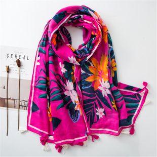 Bufanda de algodón y lino rosa cálido tono rojo planta tropical borla Al por mayor de Moda NHGD177927's discount tags