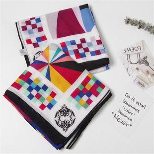 Wholesale Trend  Bufanda de algodón de sarga engrosada aire acondicionado simple moda triángulo cuadrado color patrón geométrico bufanda NHGD177935's discount tags