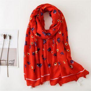 Verano nuevo floral rojo chal algodón y lino bufanda doble uso aire acondicionado protector solar Fashion Wholesale  NHGD177947's discount tags