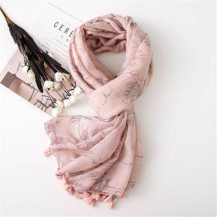 Estilo coreano bufanda de primavera mantón hembra color blanco pequeño estampado de flores frescas algodón y lino bufanda mantón largo y delgado femenino NHGD177949's discount tags