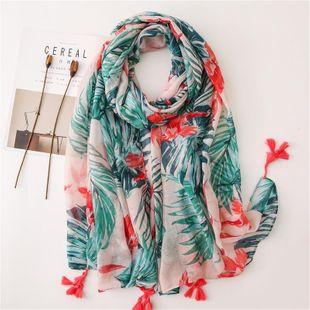 Primavera y otoño versión coreana femenina del arte ins plantas tropicales fotografiado algodón y lino bufanda vacaciones playa chal doble propósito NHGD177950's discount tags