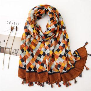 Tejiendo bufandas de algodón y lino a cuadros pequeños bufandas damas otoño e invierno chal de moda salvaje cálido toalla de playa de viaje grande NHGD177954's discount tags