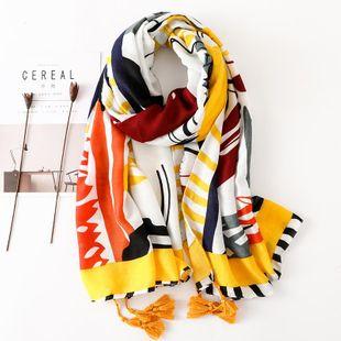 Colorido algodón y lino bufanda hembra primavera amarillo graffiti largo párrafo sol chal toalla de playa NHGD177961's discount tags