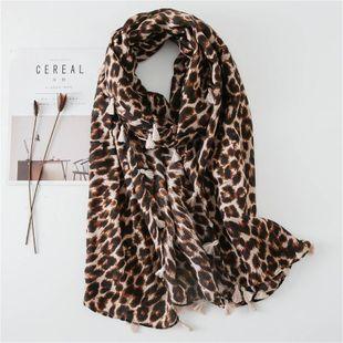 Estampado de leopardo de cuatro lados colgando bufanda de algodón y lino Temperamento coreano protector solar salvaje toalla de playa chal protector solar damas NHGD177967's discount tags