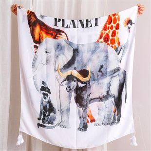 Mantón protector solar letra animal sección delgada algodón y lino bufanda hembra nueva playa vacaciones playa toalla toalla chal chal grande NHGD177985's discount tags