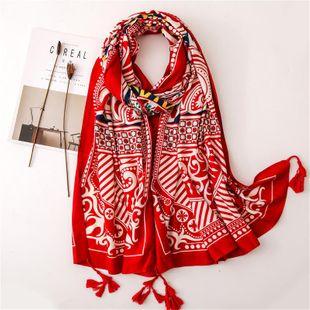 Viento nacional totem impresión algodón y lino primavera verano bufanda hembra protector solar chal doble uso viaje playa vacaciones toalla de playa NHGD177987's discount tags