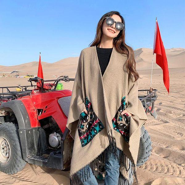 Fashion Wholesale  Scarf female winter outside split shawl imitation cashmere thick warm tassel pocket cloak NHTZ177859