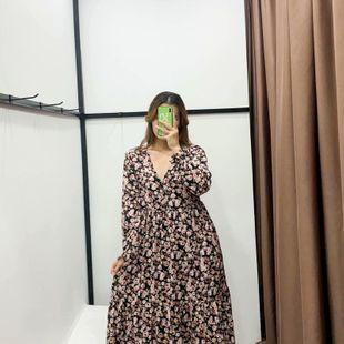 Vestido de manga larga medio elástico de impresión amplia al por mayor de moda NHAM177696's discount tags