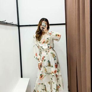 Vestido de manga larga con cuello redondo y estampado de flores de invierno 2019 al por mayor de moda NHAM177699's discount tags