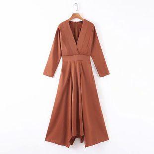 Vestido de otoño con cuello en V y textura lisa NHAM177774's discount tags