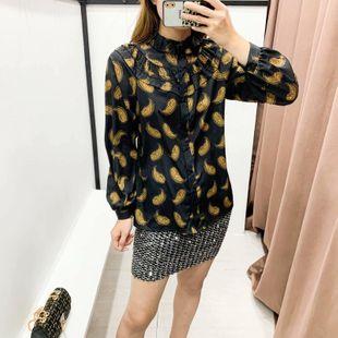 Blusa de algodón y seda de patrón de invierno al por mayor de moda NHAM177697's discount tags
