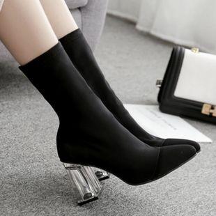 Nuevo cristal con cabeza puntiaguda de tacón alto en el tubo botas elásticas de Europa y Estados Unidos gruesas con botas de mujer NHSO177885's discount tags