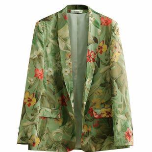 Blazer de mujer con estampado de flores de primavera NHAM177738's discount tags