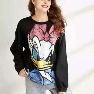 Estampado de dibujos animados de invierno más suéter de terciopelo para mujer NHAM177807's discount tags