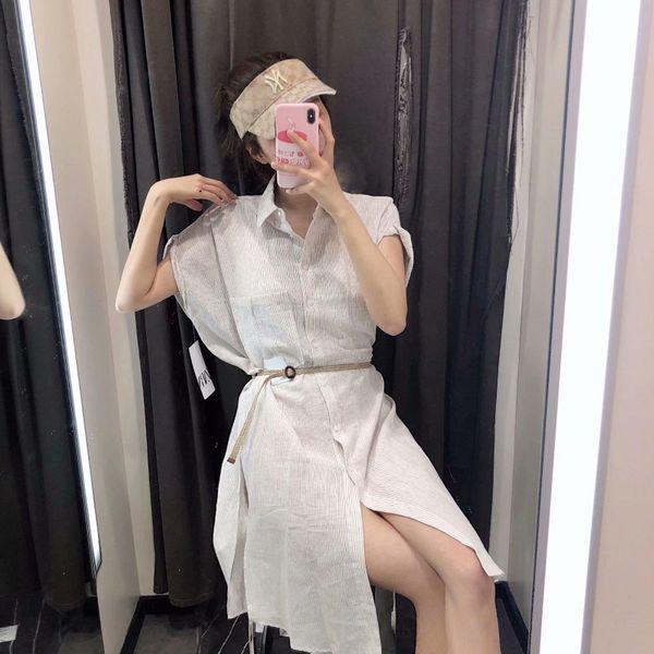 Wholesale Fashion summer striped pockets in the long shirt skirt NHAM177740
