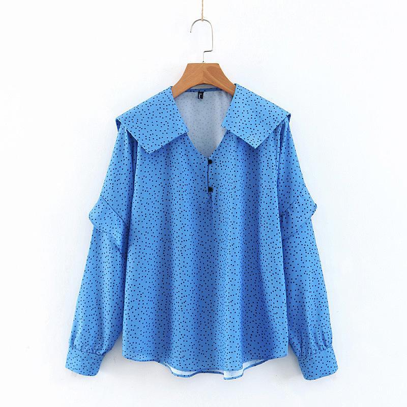 Wholesale Fashion Winter England Sailor Wind Lapel Print Polka Dot Long Sleeve Top NHAM177745