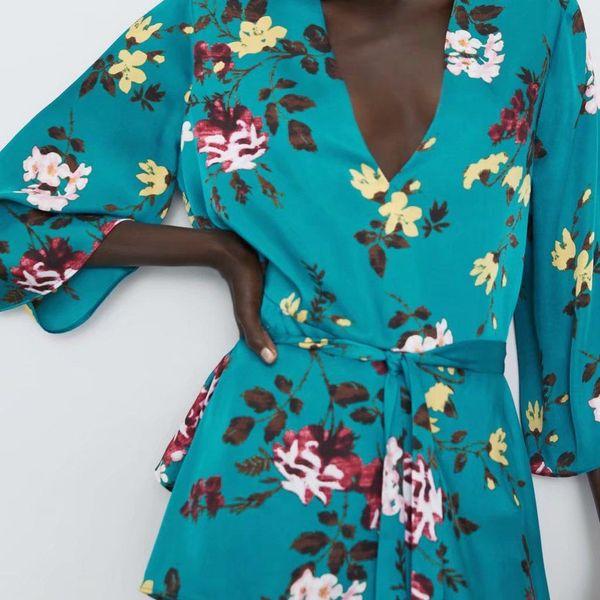 Camisa con cordones para mujer con estampado de otoño NHAM177777
