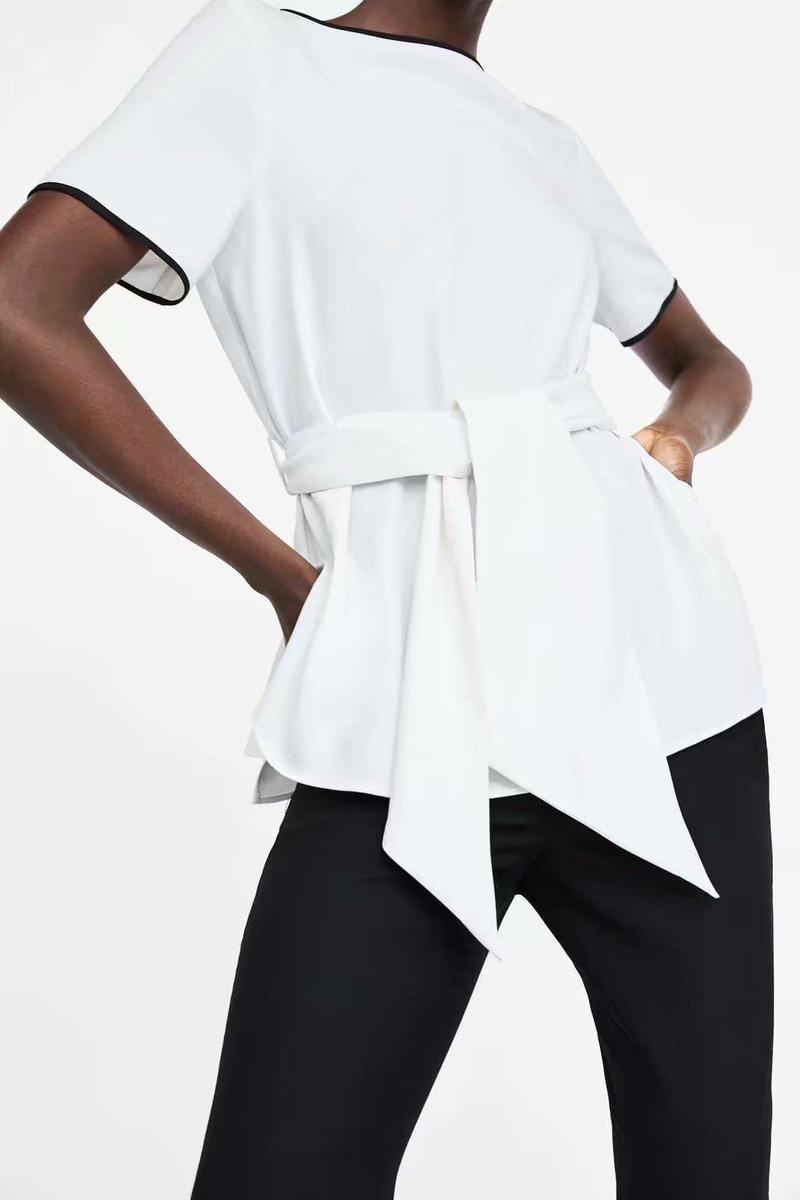 Spring Contrast Belted Blouse, Women's Short Sleeve Shirt Top NHAM177794