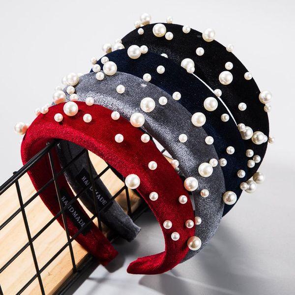 European and American fashion sweet gold velvet fabric headband female Korean version size pearl sponge headband personality wild headwear NHLN177815