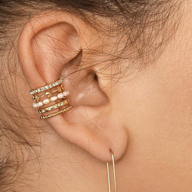 Jewelry copper accessories hollow pearl five-star diamond jewel female ear clip multi-layer NHLU177631