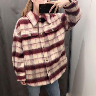 2019 chaqueta de abrigo femenino a cuadros de lana de moda retro de invierno a juego NHAM177791's discount tags
