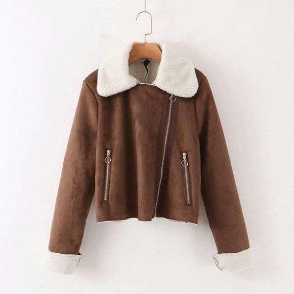 Winter tri-color suede women's jacket NHAM177779