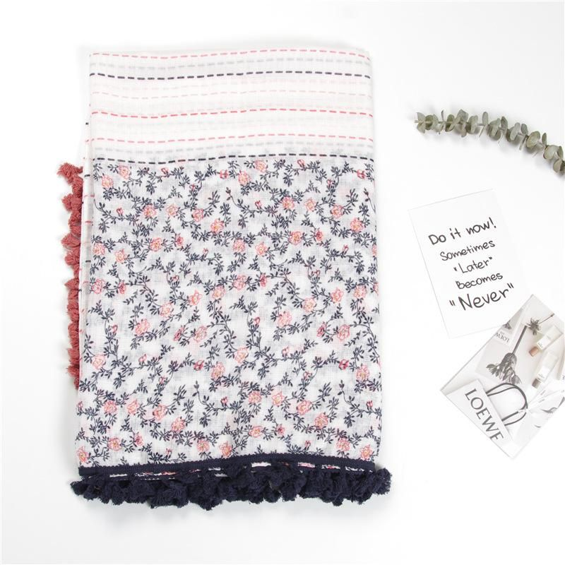 Pink blue dotted strips of small flower branches printed pattern two-color tassels large shawl NHGD177936