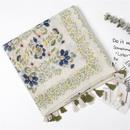Plain and elegant Jingsen female cotton and linen scarf flower vine printing pattern handmade tassel sunscreen silk scarf shawl multiuse female NHGD177964
