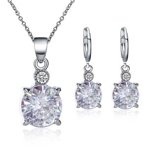 Fashion Wholesale Fashion temperament bridal jewelry round crystal zircon earrings necklace set NHDP178269's discount tags
