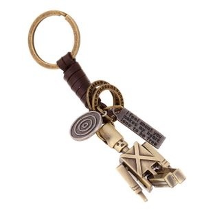 Pure hand-woven leather key chain movable alloy robot key chain wholesale leather creative backpack pendant NHPK178089's discount tags