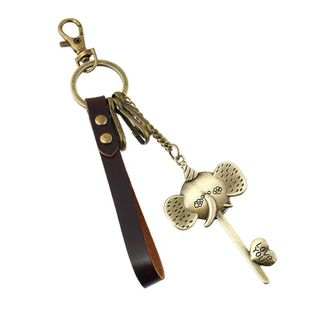 Fashion Wholesale Bronze alloy elephant nose leather keychain girl bag pendant car leather keychain NHPK178098's discount tags